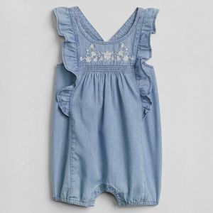 Baby Gap Chambray Romper Floral Embroidery